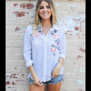Rails Nevine Striped Floral Button Down Top Blouse